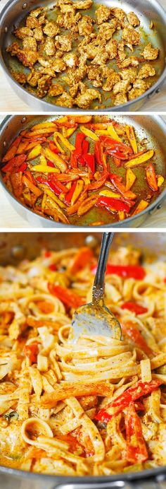 Mexican-style creamy pasta with chicken, bell peppers, and green chiles. What a comfort food!