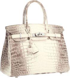 Herm��s 25cm Matte White Himalayan Nilo Crocodile Birkin Bag with ...
