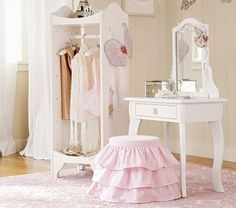 Claire Vanity and Stool   Pottery Barn Kids - for periwinkle's room  What if u bought a wooden stool at michaels & them bought tulle and wrapped at around like a tu-tu