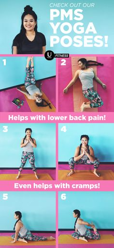 Wanna unwind? Wanna chill? Sorting out those period cramps? All of the above? Give these yoga poses a shot today and stretch those cramps away. 1. Stretch with a belly twist! 2. Put your legs up the wall to get that blood flowing. 3-4. Stand up tall and squat down into a deep pelvic squat or garland pose. 5. Relax into the one-legged king pigeon pose. 6. Get cray and grab your foot!