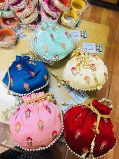 Luxury Wedding Favor Bags made in satin silk with thread work . These are medium to large size bags . Perfect to keep chocolates, individually wrapped sweets or Mithai. Perfect for floral theme weddings. Comes in assorted colors. Indian Wedding Favors, Wedding Favours Luxury, Wedding Favor Bags, Wedding Gifts, Luxury Wedding, Wedding Decor, Wedding Ceremony, Potli Bags, Wedding Gift Wrapping