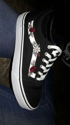 Pin by Jaylynn Selander on Shoes in 2019 Vans Sneakers, Sneakers Fashion, Fashion Shoes, Converse, Fashion Outfits, Sock Shoes, Shoe Boots, Custom Vans Shoes, Cute Vans