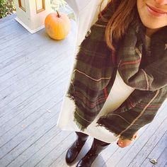 Piko tunic and plaid blanket scarf