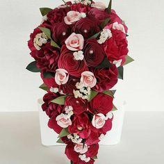 Paper Flowers Wedding, Flower Bouquet Wedding, Wedding Paper, Alternative Bouquet, Paper Bouquet, Cascade Bouquet, Gold Wedding Theme, Navy Gold, Flowers Online