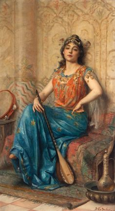 Oriental beauty with dutar and tambourine.- Paul de La Boulaye (French)