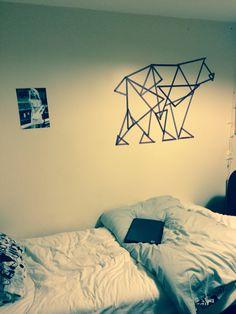 Washi tape bear geometric wall art