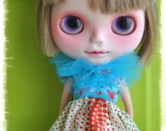 One hand made ooak dress + necklace tulle for blythe or simillar dolls