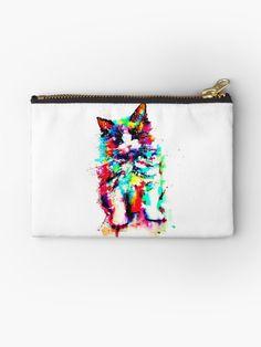 'Best Watercolor Art Design Women Cat Shirt Ideas' Zipper Pouch by GamingWear Framed Prints, Canvas Prints, Art Prints, Watercolor Cat, Cat Quotes, Cat Shirts, Cat Design, Gifts For Family, Zipper Pouch