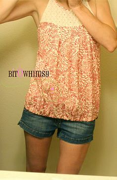 """Take a flow-y top and make in into a """"bubble shirt"""" by putting some elastic in the hem."""