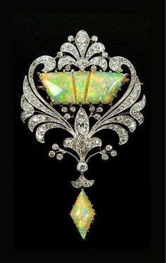 Art Nouveau Diamond and Opal Brooch - c.1900.