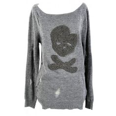 Silver Embellished Skull Open Knit Sweater In Grey - TOPS