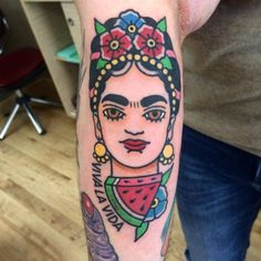 Traditional Frida Kahlo inspired tattoo on the forearm.