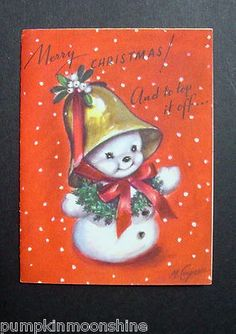 #D670- Vintage M. Cooper Xmas Greeting Card Cute Snowman With Golden Bell Hat