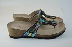 Rialto Cancun womens leather multicolor sequined beaded cork thong sandals 6.5M #Rialto #Thongs