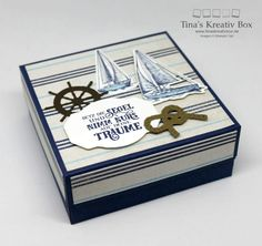 Square Box – set sail – with Stampin 'Up products! Square Box – set sail – with Stampin 'Up products! Square Box – set sail – with Stampin 'Up products! Square Box – set sail – with Stampin 'Up products! Stampin Up Anleitung, Stampin Up Karten, Stampin Up Cards, Baby Scrapbook, Scrapbook Paper, Diy Beauty Organizer, Create Christmas Cards, Nautical Cards, Origami Box