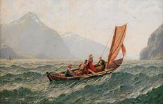 Fjord met zeilboot. Schilderij Hans Andreas Dahl.