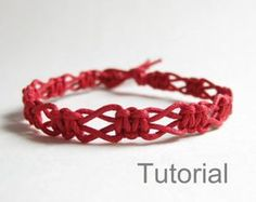 Beginners macrame knotted bracelet pdf tutorial pattern jewelry step by step easy red diy instructions micro jewellery how to