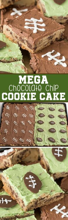 Mega Chocolate Chip Cookie Cake frosted for football season! This easy cookie recipe makes a TON so it's perfect for a party.