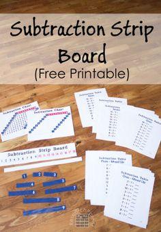 Subtraction Strip Board - Free printable Montessori-style hands-on subtraction… Montessori Homeschool, Montessori Elementary, Montessori Classroom, Montessori Activities, Elementary Math, Homeschooling, Math Classroom, Educational Activities, Subtraction Activities