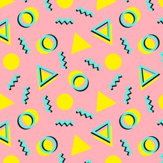 memphis, pattern, pink, cute...