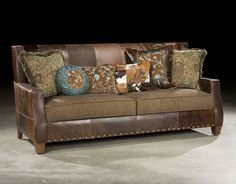 Cooper Sofa Shown In Turquoise Fabrics And Quilted Top Grain Leather.