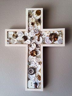 Mixed metal cross,  shabby chic cross, white cross, mosaic cross