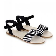 Preppy Style Zebra Print and Flat Design Sandals For Women
