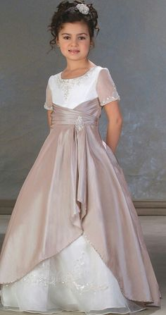 c7e09d711ad7f Flower Girl Dresses Pictures - A-Line Ball Gown Princess Jewel Long    Floor-Length Taffeta Organza Flower Girl Dress - Style