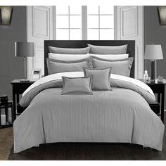 Chic Home Keynes Down Alt Jacquard Striped 7-Piece Comforter Set