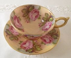 Aynsley Cabbage Rose China Tea Cup & Saucer  by TheEclecticAvenue