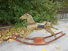 Rare...Antique Primitive Folk Art Victorian Decor Rocking Horse c.1850-1895