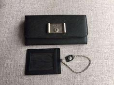 S/S 2016 Prada Classic Accessories Cheap Sale Online-Prada Black Saffiano Lock Leather Flap Wallet