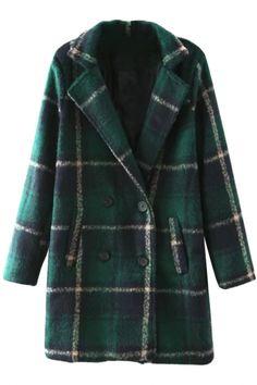 Fashion Plaid Lapel Slant Pocket Coat