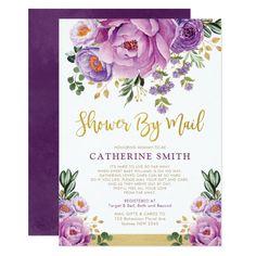 Shop Boho Botanical Purple Floral Virtual Baby Shower Invitation created by BlueBunnyStudio. Baby Shower Invitation Cards, Baby Shower Invites For Girl, Girl Shower, Bridal Shower Invitations, Party Invitations, Shower Baby, Baby Girl Purple, Couples Baby Showers, Elegant Bridal Shower