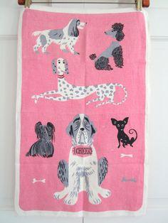 MCM KnockOff Vintage Dog Towel CHEER Tammis Keefe by NeatoKeen, $30.00