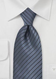 Graphite Tie with Handwoven Black Stripes