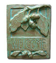 Tile Oak - Arts & Crafts style ceramic plaque - oak leaf & acorn design - other glaze colors available Craftsman Home Exterior, Craftsman Tile, Craftsman Furniture, Exterior Paint, Exterior Design, Arts And Crafts Movement, Azulejos Art Nouveau, Acorn And Oak, Art And Craft Videos