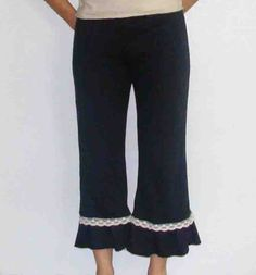 Free shipping - Adorable organic Bloomers -Organic cotton and hemp ruffle pants - bloomer style organic pants with organic cotton lace, $75