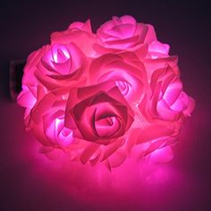 SUIE Led Rose Light String 20 LED Battery Operated For Chritsmas Wedding Halloween Patio Party Fairy String Lights Pink >>> See this awesome image @