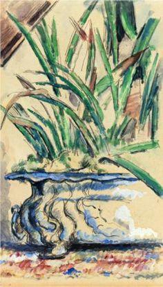 Blue Flowerpot - Paul Cezanne  1885, Post-Impressionism  Private Collection