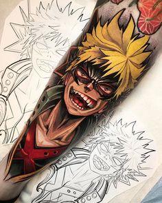 Bakugo done by me Isnard Barbosa legendary tattoo studio dublin Ireland Dope Tattoos, Anime Tattoos, Tatoos, Cartoon Tattoos, Girl Tattoos, Hero Tattoo, I Tattoo, Symbol Tattoos, Tattoo Small