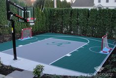 backyard landscape turf and basketball court - Google Search