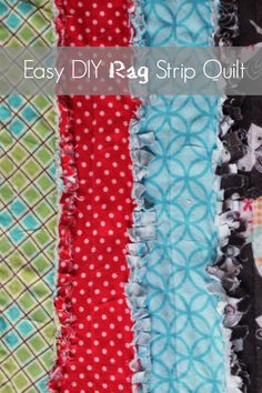 Sew Quilt Easy DIY Rag Strip Quilt-cute, thrifty, and easy to make! - This Easy DIY Rag Strip Quilt is a great gift to give to a new bundle of joy. It can come together in one afternoon, it's so easy. Strip Rag Quilts, Strip Quilt Patterns, Flannel Rag Quilts, Baby Rag Quilts, Jellyroll Quilts, Easy Quilts, Quilting Projects, Quilting Designs, Sewing Projects