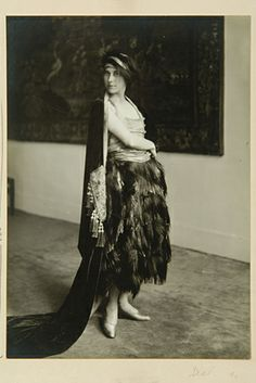 "Denise Poiret in Paul Poiret's ""Faune"" ensemble, 1919.  Poiret's success was due in part to his wife Denise, a young lady from the provinces whom he married in 1905. She was his muse, creative director of the fashion house, and, above all, his favorite model. In an interview in a magazine in 1913, Poiret affirmed: `My wife is the inspiration for all my creations, she is the expression of all my ideals.'"