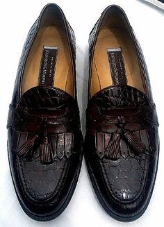 Johnston & Murphy- Brown Genuine Alligator Tasseled Loafers- size 10.5M