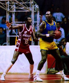 Bob McAdoo & Darryl Dawkins. Look how huge Dawkins is.....tree trunks for legs too