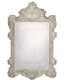 antiqie Venetian mirror trimmed with glass ribbons and rosettes