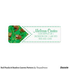 Red Panda & Bamboo Leaves Pattern customized Labels from Zazzle