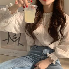 RUGOD Elegant women blouses lantern sleeves o neck lace white floral print vintage casual sweet korean style femme tops modis Outfit Essentials, White Lace Blouse, Eyelet Lace, Frill Blouse, Lace Chiffon, Chiffon Shirt, Floral Lace, Paar Style, Casual Summer Outfits