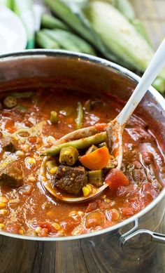 Vegetable Beef Soup - great way to use up end of summer vegetables from the garden. Can be frozen and eaten once the cooler weather sets in.